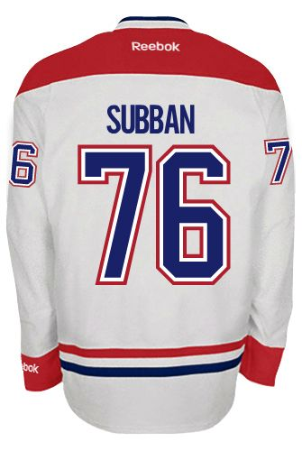 ... Red Black White Premier Montreal Canadiens P.K. SUBBAN 76 A Official  Away Reebok Premier Replica NHL Hockey ... aef693f6c