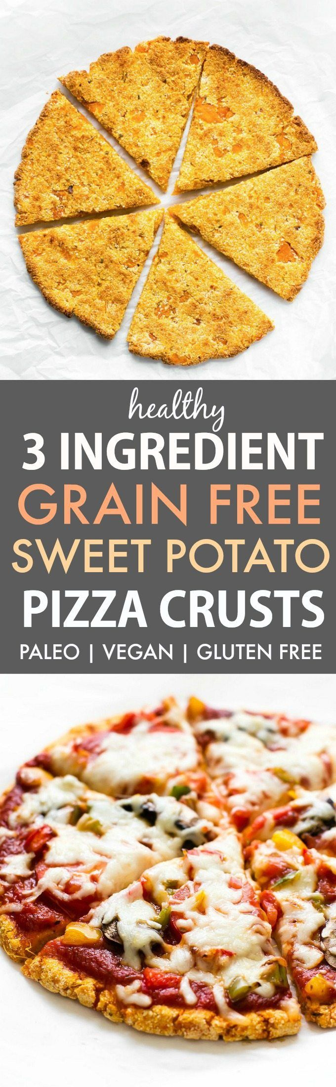 3 Ingredient Sweet Potato Pizza Crusts (Paleo, Vegan, Gluten Free)- An easy, 3 ingredient stovetop pizza crust recipe made with NO grains, NO cauliflower and NO eggs! - thebigmansworld.com #paleopizza #grainfreepizza #sweetpotato