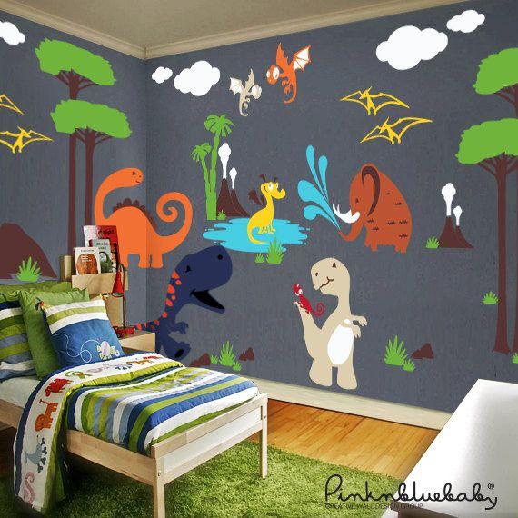 Dinosaur Land Wall Decals Playroom Wall Decals Kids Nursery