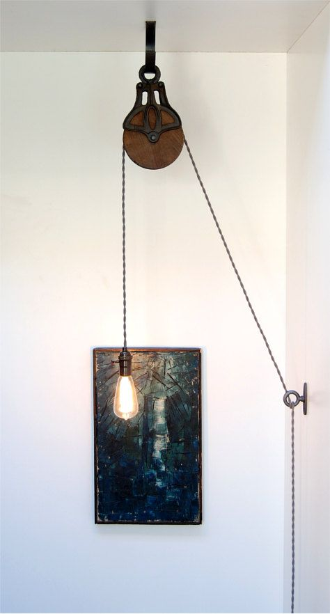 DIY Kit for Antique Cast Iron & Wood Pulley Lamp by PhotonicStudio