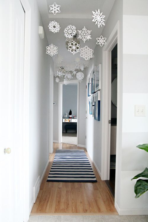 Let it Snow, snowflake decor, paper snow hung from ceiling in hallway, easy Christmas decor
