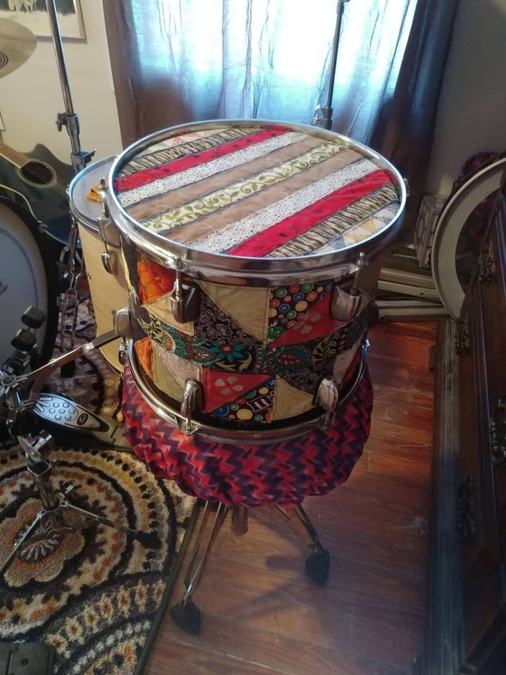 Made a frabric drum wrap along with two pieces for each drum head. (If there is a proper subreddit for this please let me know.