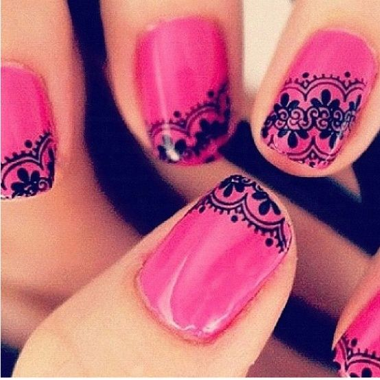 Lace Nail Art Designs nails design, nails featured. I don't know about you but when I look at these I see a bandana style going on here :)