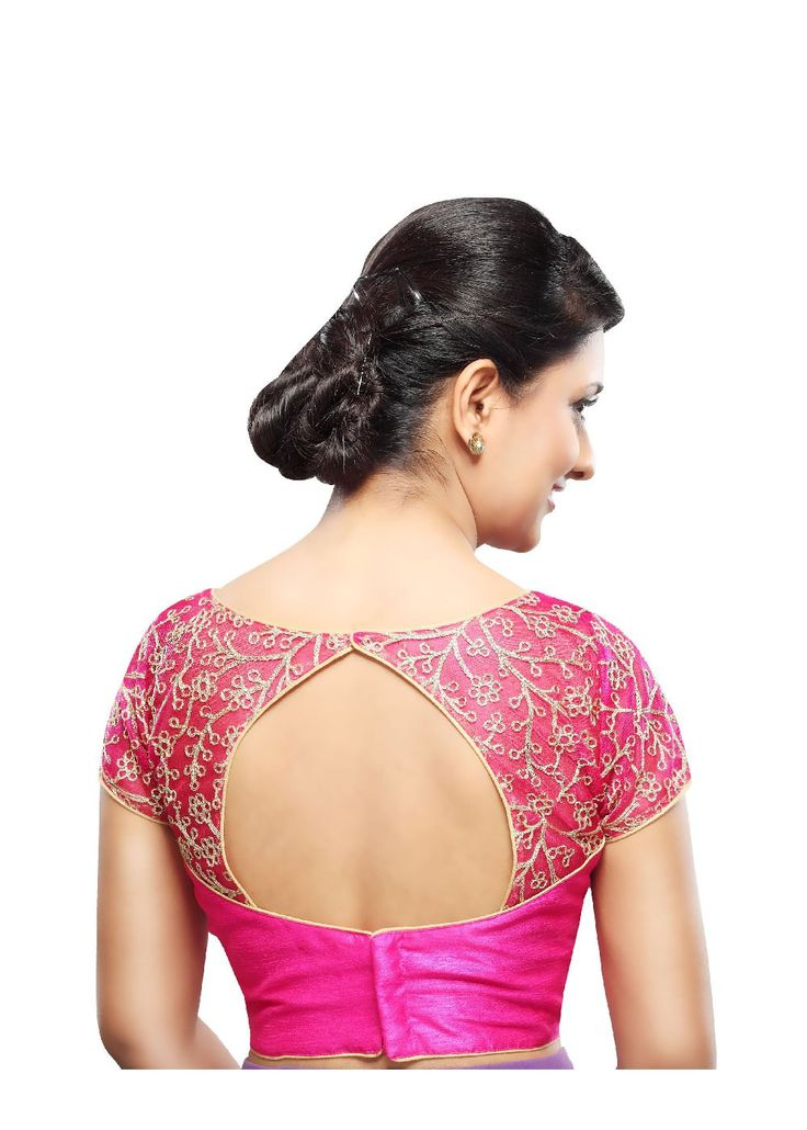 Designer Pink Net Back Open Ready-made Saree Blouse Choli SNT X-356-SL Exquisite high neck blouse with zari embroidered net at the neck and sleeves and a perfect pattern cut neckline. Would bring a cl