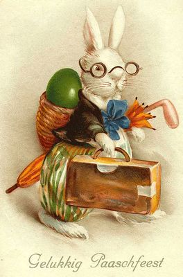easter postcards vintage | love that he's wearing glasses and that the colors are warm rather ...