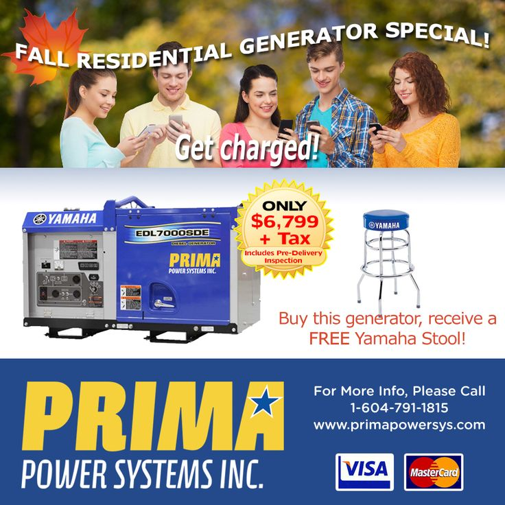 FALL SPECIAL! This awesome EDL 7000SDE Yamaha #Residential #Generator! Keep your household power ON and your mobile devices CHARGED. CALL TODAY 1-604-791-1815.