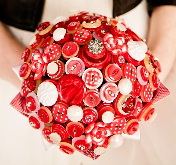 Red polka dot button bouquet 50's kitsch retro alternative wedding