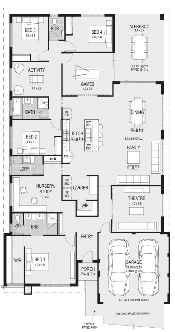 4 bedrooms/ 2.5 bathrooms/ game room/ activity room/ study/ theatre/ kitchen/ dining/ family/ laundry/ alfresco/ 2 car garage