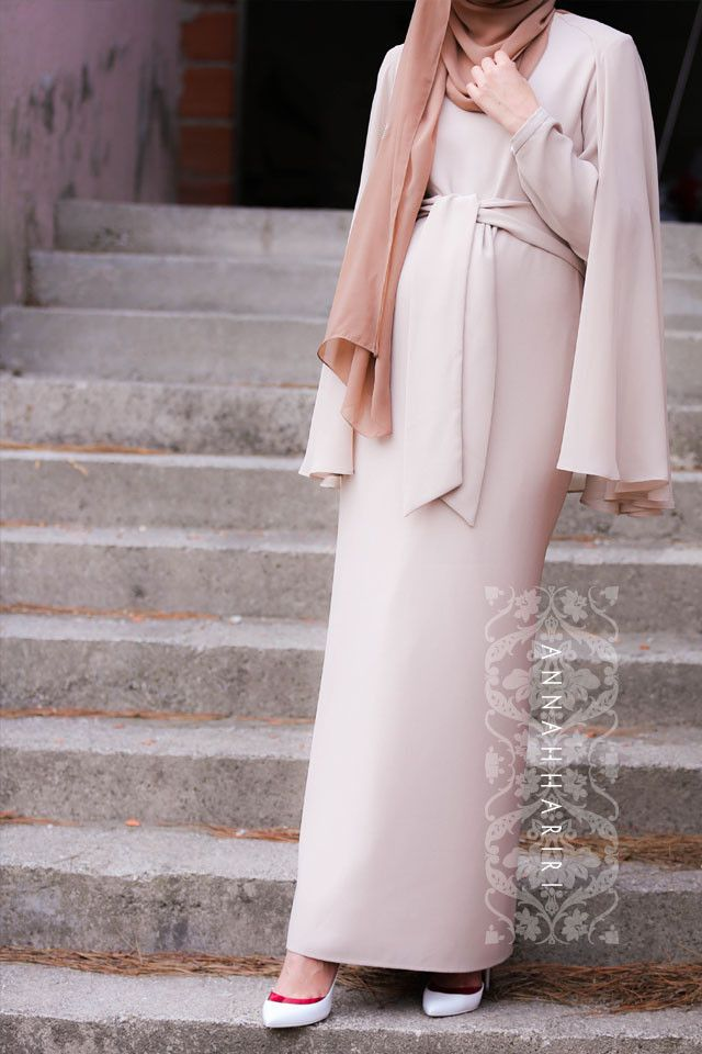 Maxi Modest Cape dress in Beige light colour www.annahariri.com
