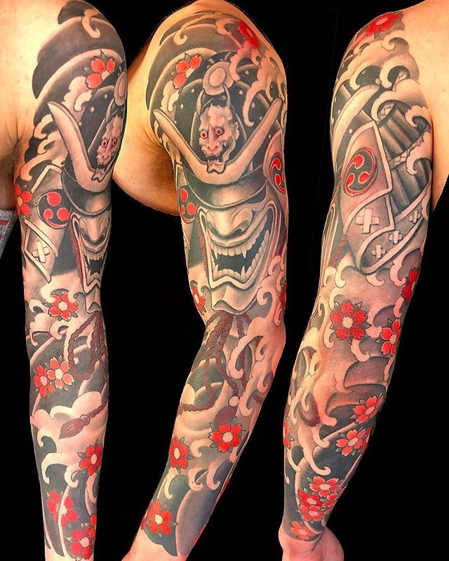 So Much Fun Doing This Samurai Sleeve Sleevetattoo Japanesetattoo Japanesecollective Tattoo Traditiona Sleeve Tattoos Tattoo Sleeve Men Japanese Tattoo