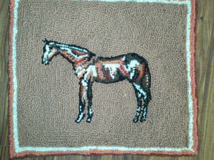Hand Hooked Wild Horses Rug X Wool