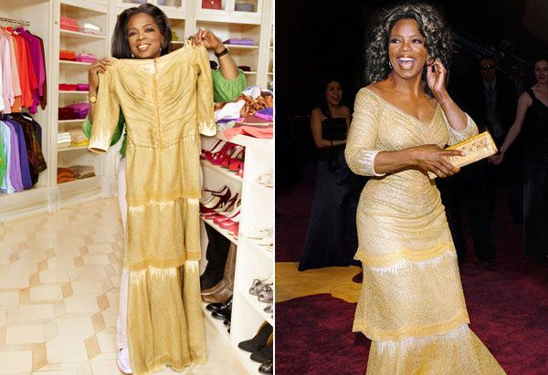 Oprah in her closet with her 2005 Oscar dress