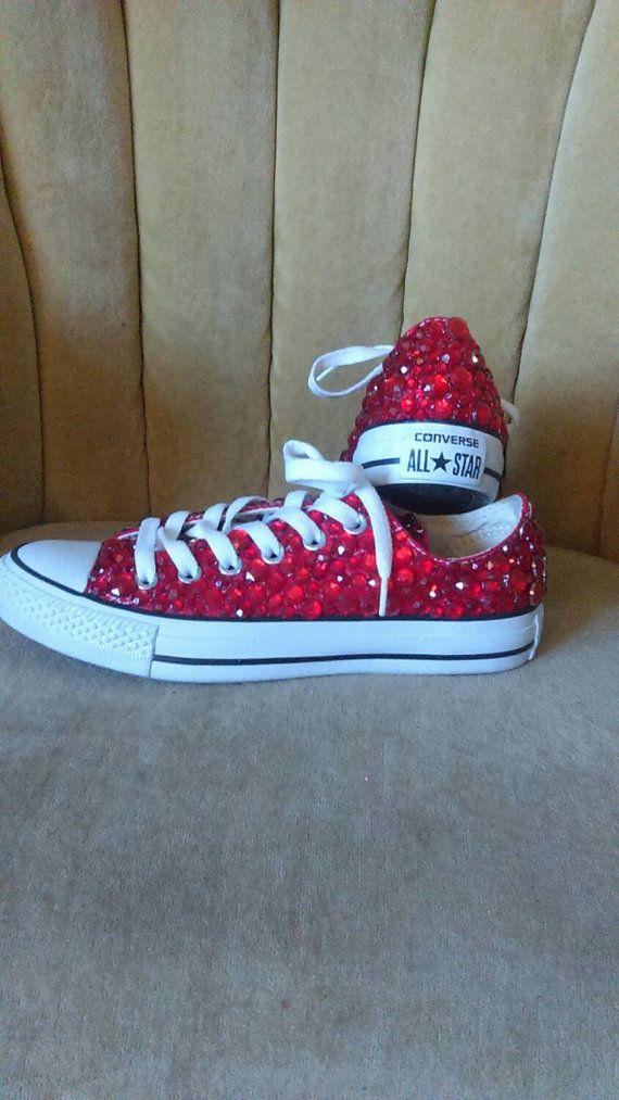 Red converse. Rhinestone converse. Low top. by GlamAndGloryLab