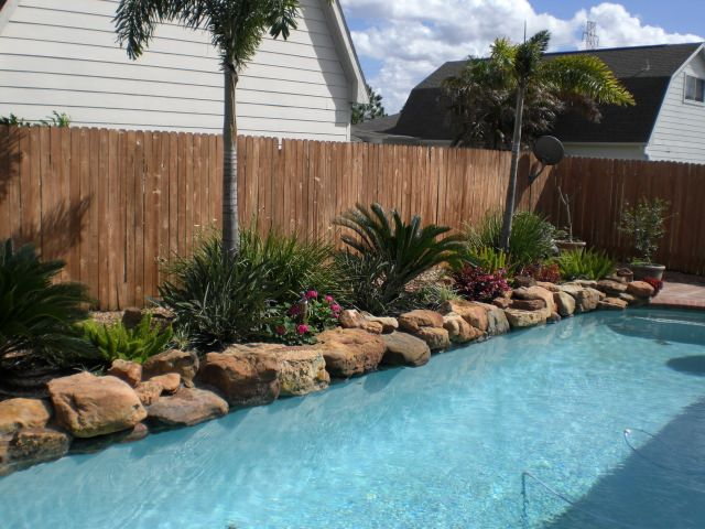 Landscaping around pool ideas pinterest for Pool landscaping ideas