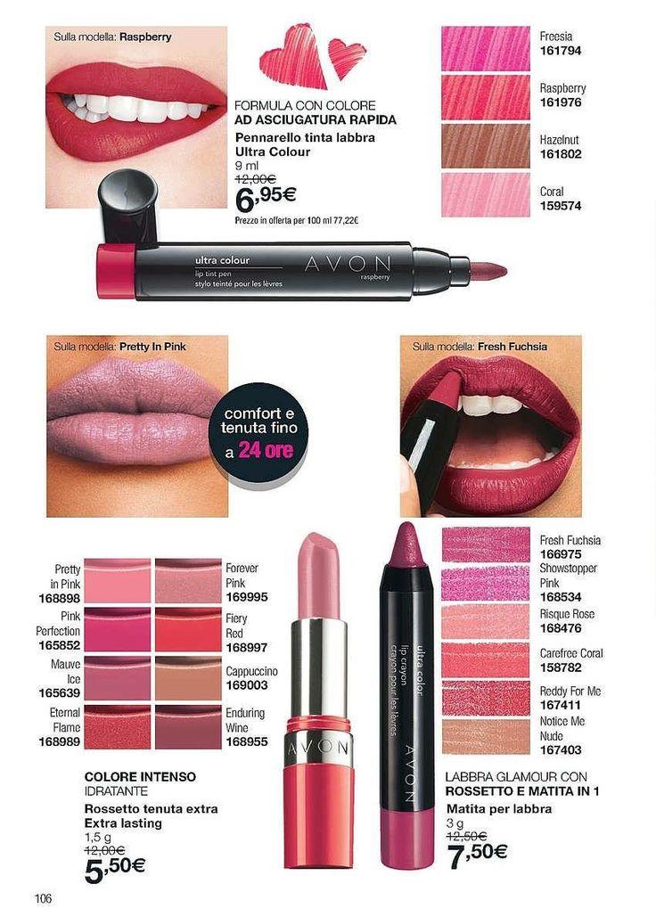 Pennarello tinta labbra ultra colour a soli 6,95€  Rossetto extralasting a soli 5,50€  Matita per labbra a soli 7,50€