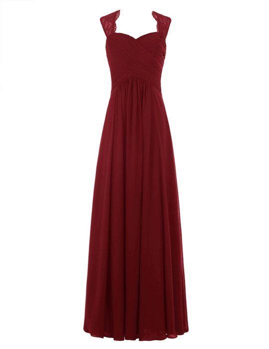 Tideclothes Chiffon Bridesmaid Dress Long Lace Prom Dress Evening Dress Burgundy US4