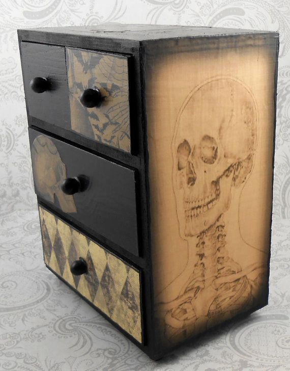 Dark Purple Bats Skeleton Skull Vintage Anatomy Stash Jewelry Box