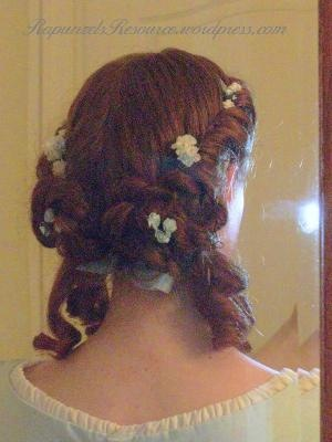 American Civil War-style formal updo for long hair, from Rapunzel's Resource.