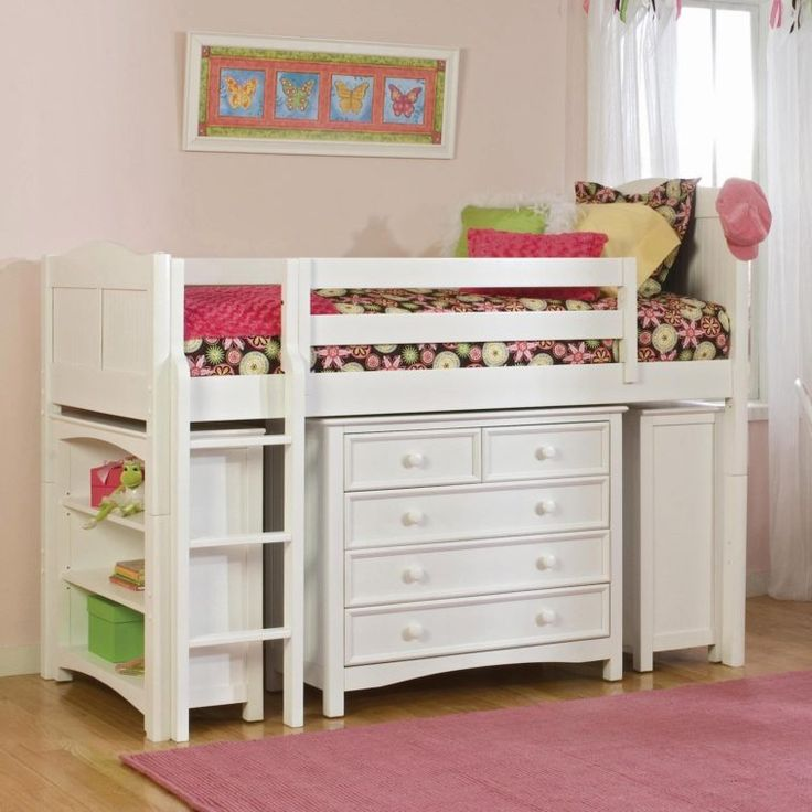 White Wooden Bunk Beds With Storage Drawers And Shelves Also Wooden Ladder With Colorful Floral Pattern Bed Sheet On Laminate Flooring