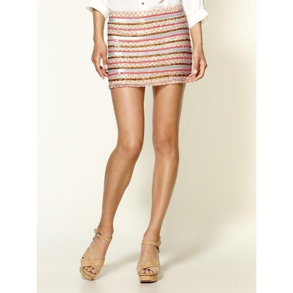 Parker NY Tribal Beading Silk Skirt This cute mini is perfect for a special occasion or a night out on the town. This item is brand new and has never been warn. Tags included with replacement beads (should anything ever happen!) Parker is know for their beaded work and this is one of their best pieces, add it to your closet today! Parker Skirts