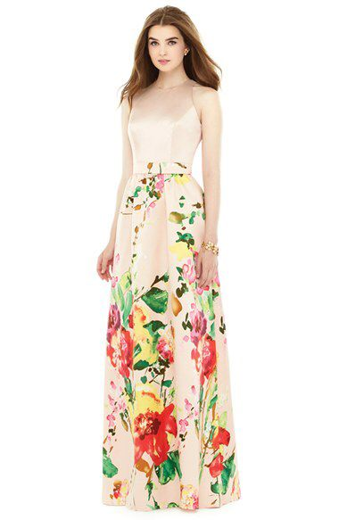 Alfred Sung Alfred Sung Watercolor Floral Print Sleeveless Sateen A-Line Gown available at #Nordstrom