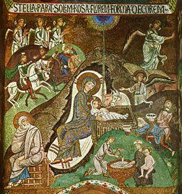 Apologética Católica: Arte católica mosaicos do século XI na Capela Palatina, Palermo, representando o nascimento de Cristo e sua entrada em Jerusalém. A grandeza bizantina.