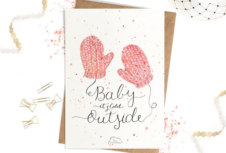 Printed Watercolor cards, Modern Calligraphy Christmas card, Christmas, Baby it's cold outside, Happy Christmas card by WhiteWildRose on Etsy