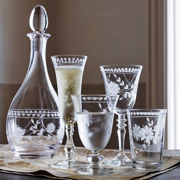 Vintage Etched Glassware Collection   Williams-Sonoma