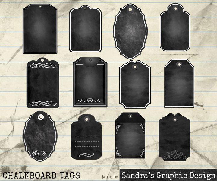 """Digital Clip Art: """"KRIJTBORD LABELS""""  (814) van Sandra's Graphic Design op DaWanda.com"""