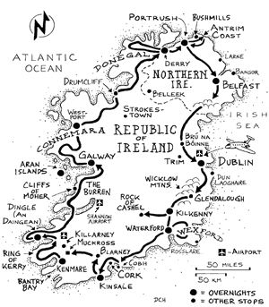 Sorta basing our two week itinerary on this original Rick Steve's three week Ireland itinerary map