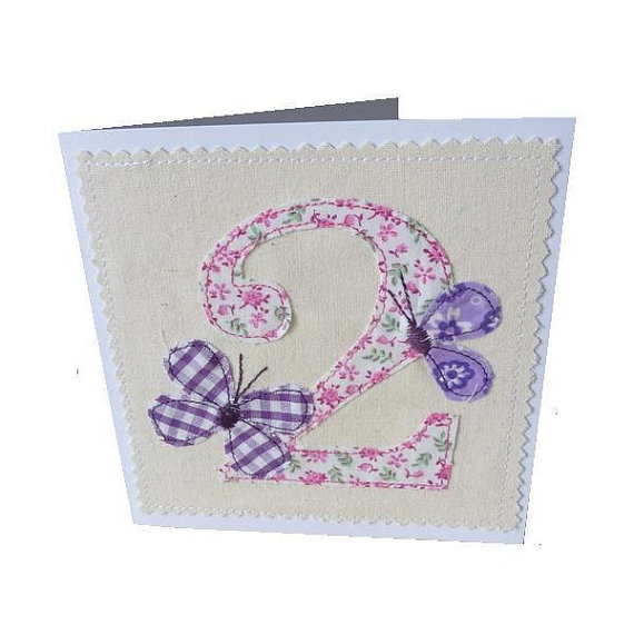 Appliqued textile girl's age 2 two Birthday card by MinXtures, £3.50