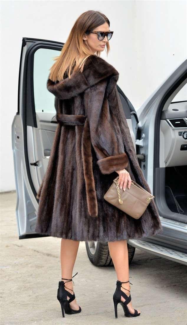MINK FURS - brown saga mink trench fur coat hood - furs outlet