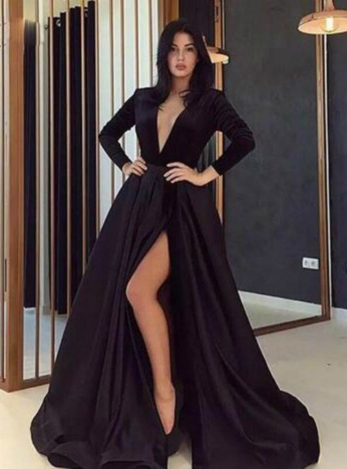 b94c6a8624b ... Prom Dress With High Slit from dresschic. Silhouette a-line  Hemline floor length Neckline v-neck Fabric satin Shown Color black Sleeve  Style long sleeve ...