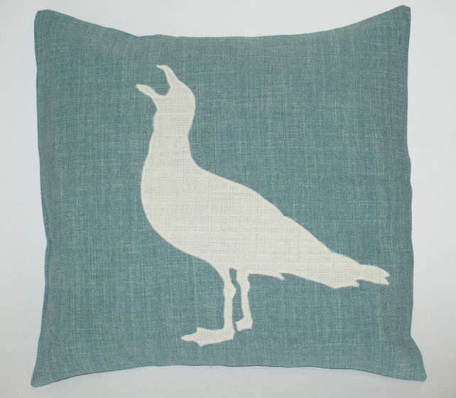 Seagull Linen Appliqued Cushion Cover Artisan Made Duck Egg Blue £11.99