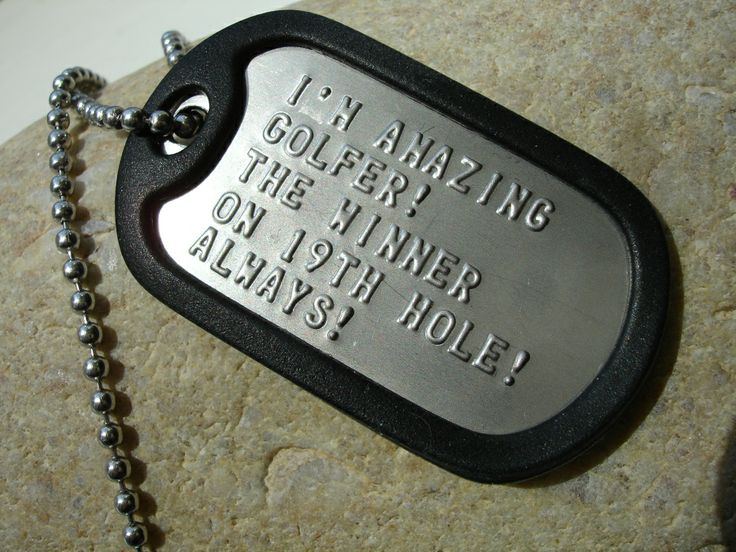 "19th hole! Dog tag. The perfect gift for a golf ""loser"" :-)  :-) :-)  Buy it via: www.birdiecountry.com"