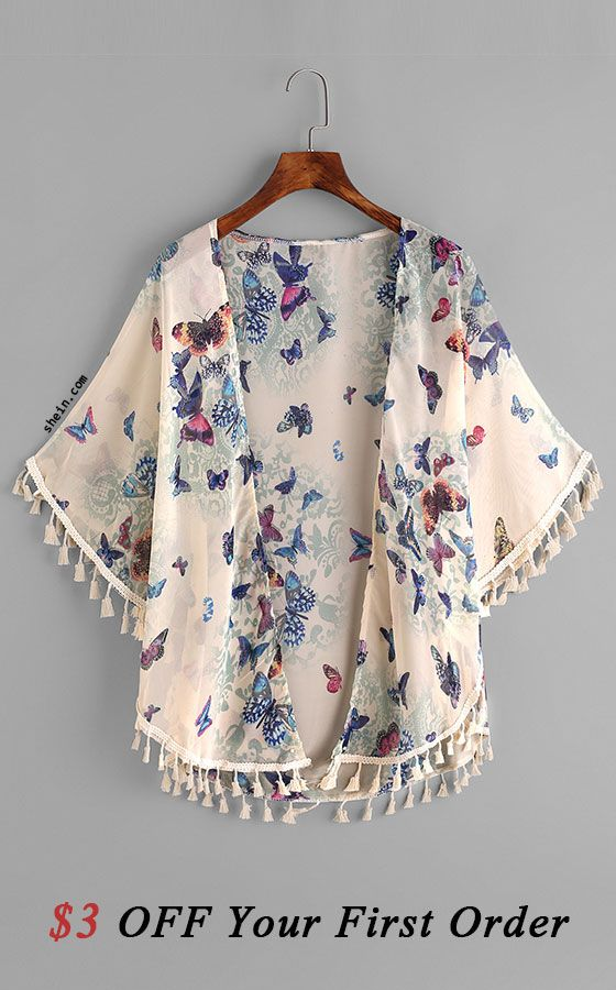 Butterfly Print Fringe Trim Top