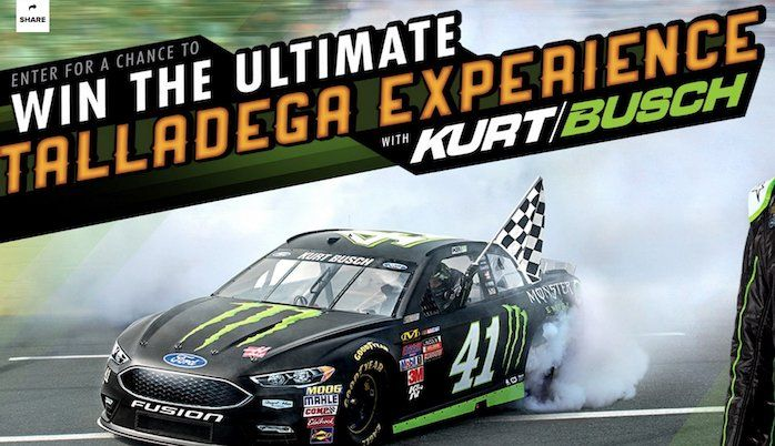 5 Grand Prize winners will win a $1,900.00 Kurt Busch Talladega Experience. Enter it now.    This experience includes round trip airfare for each winner and guest to Talladega, AL; ground transportation; 3 night infield accommodations; Meet and Greet...