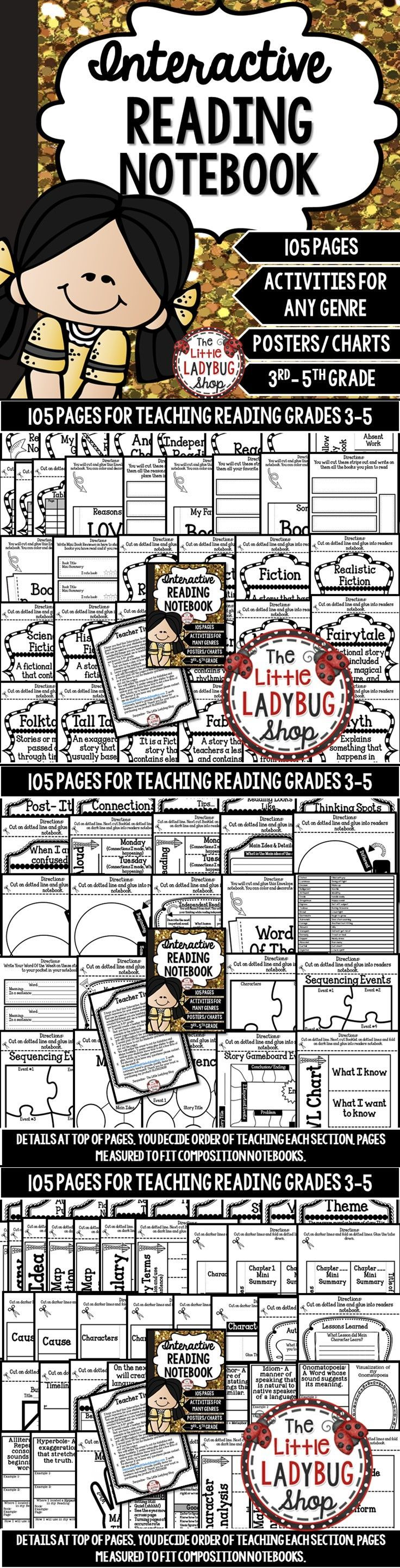 Reading Interactive Notebook | Reading Interactive Notebook  Reading Interactive Notebooks are an EXCITING way to teach Reading throughout the school year! This notebook is VERY detailed and includes components to a Balanced Literacy Classroom Setting