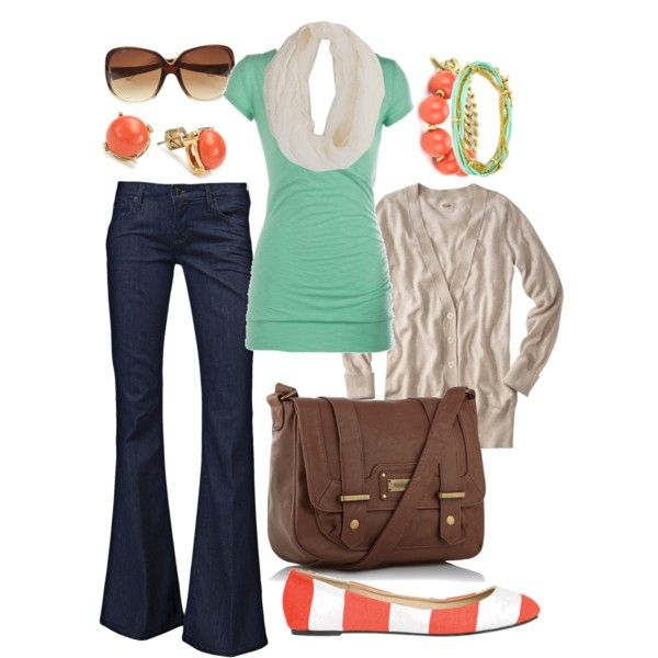 """mint & coral"" by htotheb on Polyvore: Color Combos, Style, Dream Closet, Coral Shoes Outfit, Cardigan, Mint Coral, Untitled, Coral Aqua"