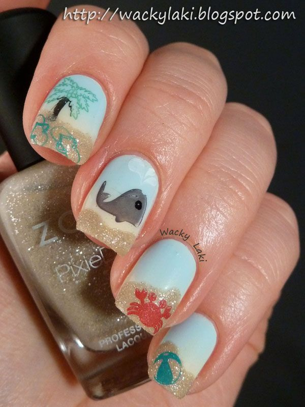 Wacky Laki: Beach Nail Art featuring Zoya Nail Polish in Blu, Jacqueline, Godiva & Kelly