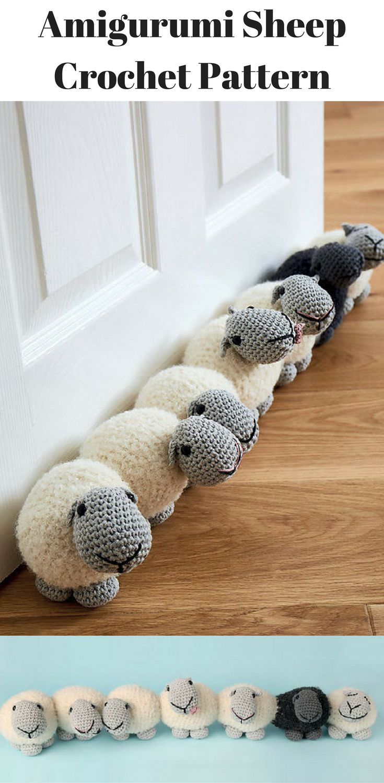 Amigurumi Sheep Crochet Pattern for draft blocker for doors. #ad #amigurumis #amigurumidoll #amigurumilove #amigurumitoy #amigurumipattern #crochet #crochetaddict #crochetlove #crochetpattern