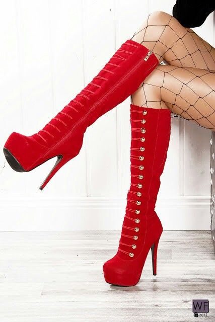 red hot high heel platform boots <3