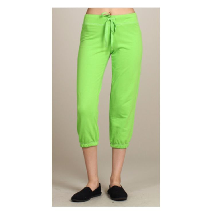 Must Have Cropped Capri Drawstring Waist Lime Green Sweat Pants