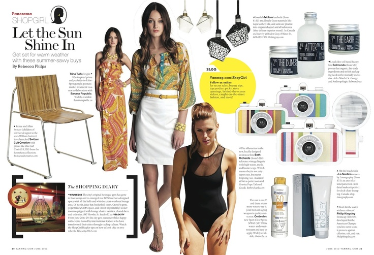 The Bardot suit was featured in Rebecca Philips ShopGirl page in Vancouver Magazine