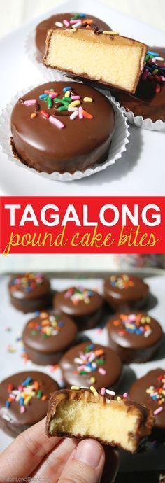 Tagalong Pound Cake Bites made with Sara Lee Pound Cake from @momlovesbaking.