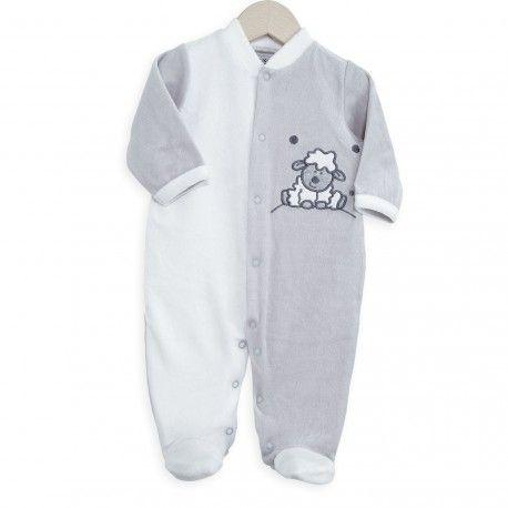 """On a craqué pour ce pyjama naissance bébé gris et blanc """"Simon le petit mouton"""""""