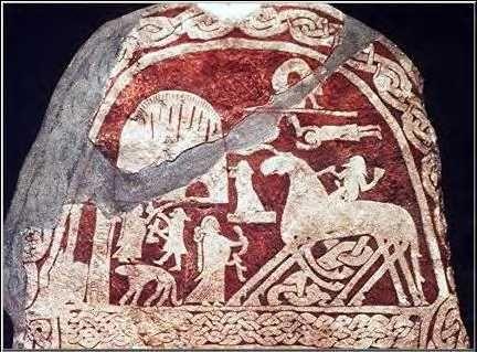 SWEDEN: Odin - Viking stone, 600's AD, from Gotland. Odin is riding his horse, Sleipnir.