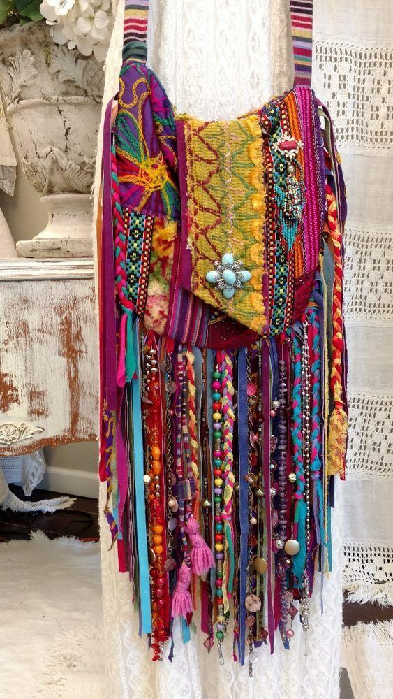 Handmade Long Fringe Cross Body Bag Gypsy Boho Hobo Hippie Festival Purse tmyers #Handmade #MessengerCrossBody