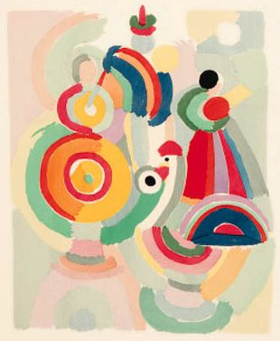 Sonia Delaunay. I like the way the artist uses small shapes to create larger deceiving shapes.