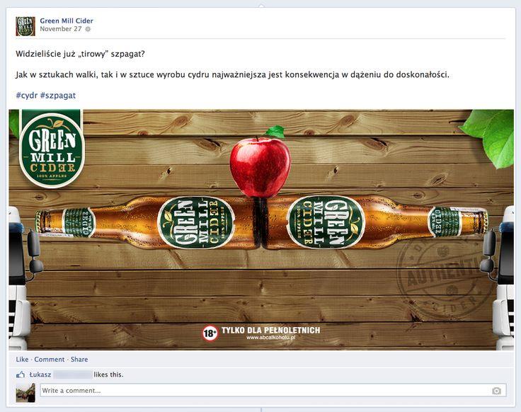 Green Mill Cider nawiązuje do słynnego szpagatu (Epic split) z reklamy #Volvo.  #Facebook